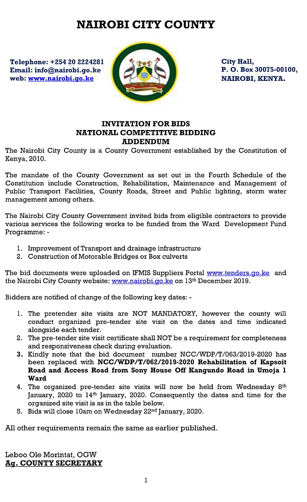 Invitation For Bids Notice 2019 2020 Wdp Projects Advert 09 01 2020 Addendum 1